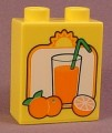 Lego Duplo 4066 Yellow 1X2X2 Brick With Juice & Oranges Pattern