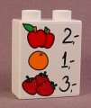 Lego Duplo 4066 White 1X2X2 Brick With 1 2 3 & Apples Oranges & Strawberries Pattern