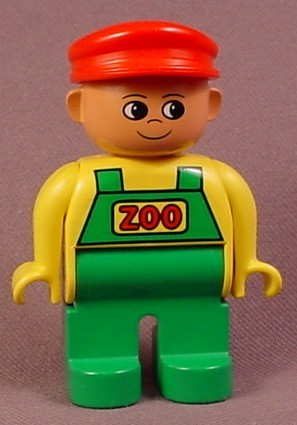 Lego Duplo 4555 Male Articulated Figure With Green Overalls With Red Zoo Text, Red Hat