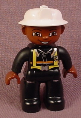 Lego Duplo 47394 Male Articulated African American Fireman Figure With Yellow Fireman's