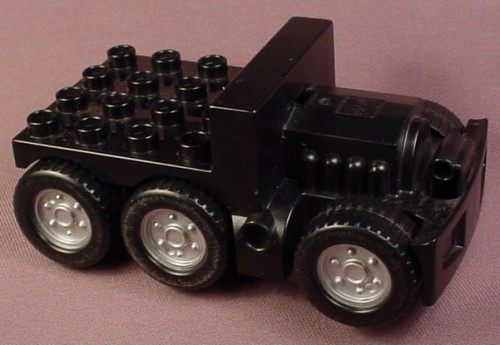 Lego Duplo 48127 Black 4X8X5 Truck Base With 6 Wheels & Motor, Truck Bed