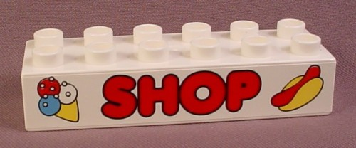 Lego Duplo 2300 White 2X6 Brick With Red Ice Cream & Hot Dog Shop Pattern