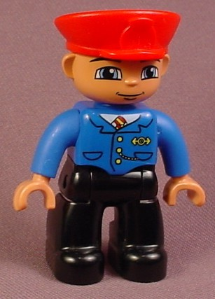 Lego Duplo 47394 Male Articulated Figure With Red Hat, Striped Tie, Blue Shirt, Black Legs
