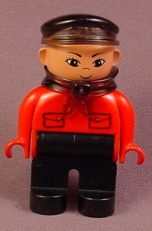 Lego Duplo 4555 Male Articulated Figure With Transparent Brown Hat & Scarf, Red Shirt