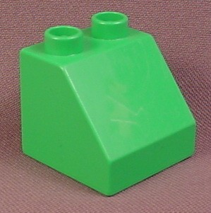 Lego Duplo 6474 Medium Green 2X2X1 1/2 Sloped 45 Brick