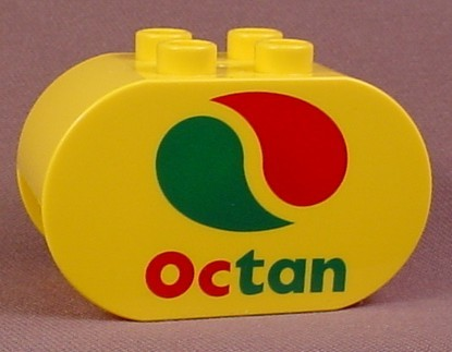 Lego Duplo 4198 Yellow 2X4X2 Brick With Rounded Ends Printed With An Octan Logo, 6171