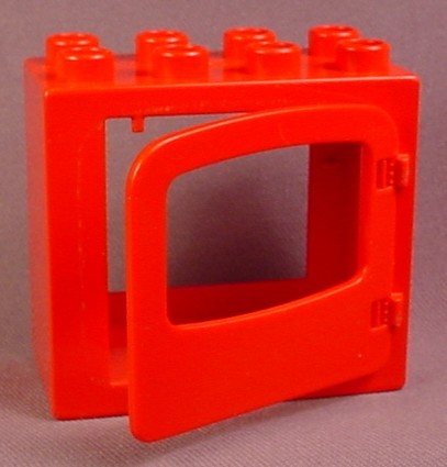 Lego Duplo 4253 Red Flat Rim Door Frame 2X4X3 With 4247 Red Door With Large Window