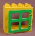 Lego Duplo 61649 Yellow 2X4X3 Flat Rim Door Or Window Frame With Green 2206 Window