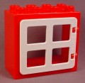 Lego Duplo 4253 Red Flat Rim Door Frame 2X4X3 With 90265 White Window or Door