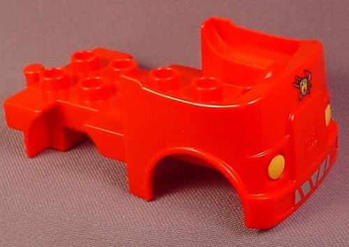 Lego Duplo 95462 Red Truck Vehicle Body With Fire Logo Pattern & Headlights, 6138