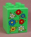 Lego Duplo 31110 Green 2X2X2 Brick With 7 Flowers Pattern
