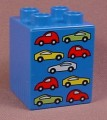 Lego Duplo 31110 Blue 2X2X2 Brick With 9 Cars Pattern