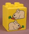 Lego Duplo 31110 Yellow 2X2X2 Brick With 2 Bunny Rabbits Pattern