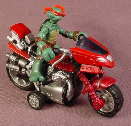 Tmnt Motorcycle With Raphael Pvc Figure Pull Back Motor 2007