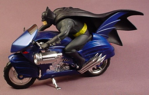 Batman Blue Die-Cast Metal Batcycle With Batman Rider, 1:16 Scale, Diecast Metal, 2000