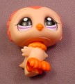 Littlest Pet Shop #1147 Peach & Orange Baby Owl With Purple Eyes, Owlet, Outdoor