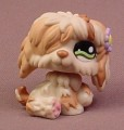 Littlest Pet Shop #1105 Tan & Brown Sheepdog Puppy Dog With Fancy Green Eyes