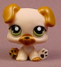 Littlest Pet Shop 2103 Tan Brown Puppy Dog Baby With Green Eyes Black Pads Toes Rons Rescued Treasures