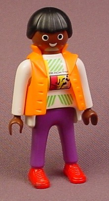 Playmobil Adult Female African American Figure In A White Shirt With A Pattern And An Orange Vest