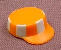 Playmobil Orange Cap Or Hat With White Stripes & Low Straight Sides With Bill, 3745 3780 6102 7516