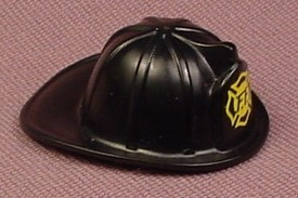 Playmobil Black Firefighter Helmet With Yellow Logo, Fireman, Fire Fighter, 5829 5843 5879