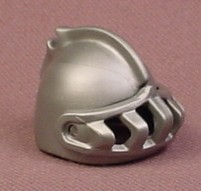 Playmobil Silver Gray Knight's Helmet With Ridge Feather Clip & Visor, Round Top, 4689 5812