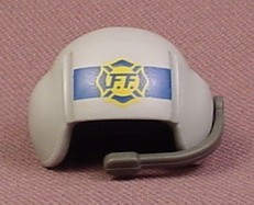 Playmobil Gray Firefighter Pilot Helmet With Blue & Yellow Logo, Attachment Point 5842