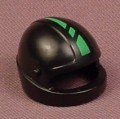 Playmobil Black Motorcycle Helmet With A Green Stripe & A UVEX Logo On The Back, 9958, 30 62 3392