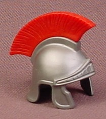 Playmobil Silver Gray Roman Helmet With A Red Feather Crest, 4271 4273 4276 4632 5827 5841 7877