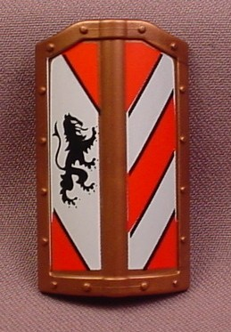 Playmobil Bronze Or Brass Large Rectangular Shield With White & Red Stripes & A Lion Design, 3667