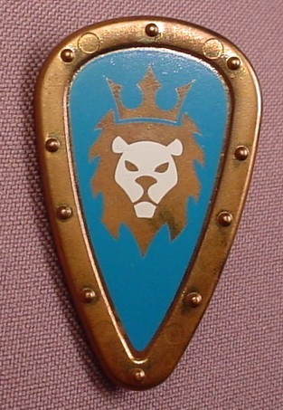Playmobil Bronze Or Brass Teardrop Shaped Shield With A Lion With Crown On A Blue Field Design, 3268