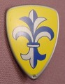 Playmobil Silver Gray Shield With A Blue Fleur De Lis On A Yellow Background, 4924, No Part Number