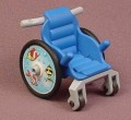 Playmobil Blue Child Size Wheelchair With Fish Design Wheels, Gray Frame & Handles, 4407