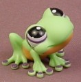 Littlest Pet Shop #1091 Light Green Frog With Purple Eyes, Orange Tummy, Tru Exclusive