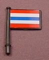 Playmobil Black Flag With A Short Pole And A Sticker With Red Blue & White Stripes On Both Sides