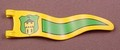 Playmobil Yellow Narrow Wavy Flag Or Pennant With A Green Crest With Castle Design