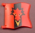 Playmobil Large Red Square Flag With A Red Dragon On A Black Background, Has 2 Clips