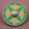 Playmobil Silver Gray Round Viking Shield With A Green Silver & Brown Design, 3150 5003 5723 6330