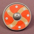 Playmobil Silver Gray Round Viking Shield With An Orange Silver & Brown Cross Design, 3150 5003 5723