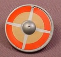 Playmobil Silver Gray Round Viking Shield With An Orange & Brown With Crossed Silver Lines Design