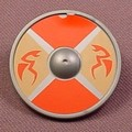 Playmobil Silver Gray Round Viking Shield With An Orange & Brown With Flying Dragons Design, 3150