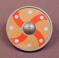 Playmobil Silver Gray Round Shield With Orange & Brown Sticker With 4 Lines, 3150 5003 5723 6330