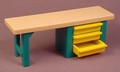 Playmobil Green Workbench With Tan Top & 3 Yellow Drawers, 30 03 4430