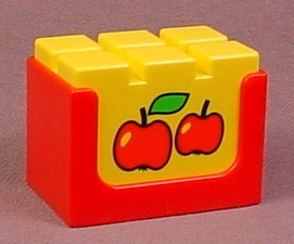 Playmobil 123 Red & Yellow Crate Of Apples For Fruit Stand, Stackable, 6603