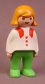 Playmobil 123 Adult Female Figure With Bright Green Pants, White Shirt With Red Collar