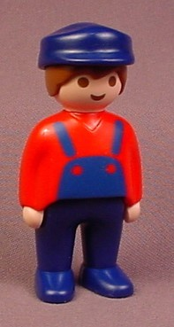 Playmobil 123 Adult Male Farmer Or Train Engineer Figure With Blue Hat & Pants, Red Shirt
