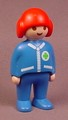 Playmobil 123 Adult Male Helicopter Pilot Figure With Red Helmet, Blue Clothes