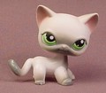 Littlest Pet Shop #125 Blemished White & Gray Short Hair Kitty Cat Kitten With Green Eyes