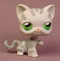 Littlest Pet Shop #132 Blemished Gray Striped Tabby Kitty Cat Kitten With Green Eyes