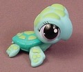 Littlest Pet Shop #1325 Blue Green Sea Turtle With Purple Eyes, Dark Green Shell